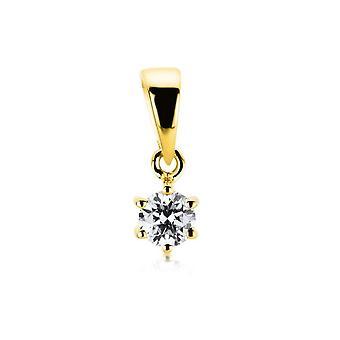 Pendentif Au-temps diamant - 18K 750/- Or Jaune - 0,15 ct.