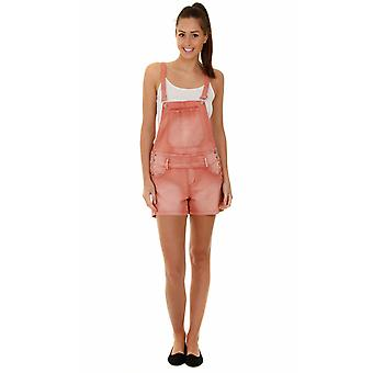 Womens dungaree shorts - salmon pink
