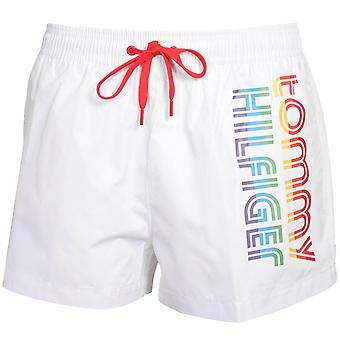 Tommy Hilfiger Pride Stripes Side Logo Athletic Swim Shorts, Blanc