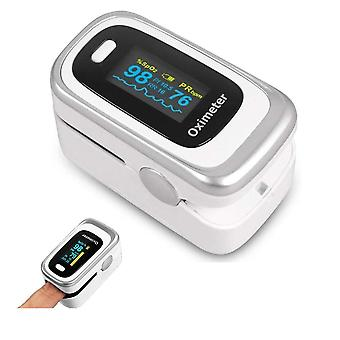 Pulse oximeter - measures oxygenation and heart rate via finger - white/silver