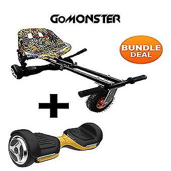 """6.5"""" G PRO Gold Bluetooth Hoverboard with Hip Hop Go Monster Hoverkart Bundle"""