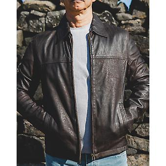 Nordvek Mens Leather Jacket - Traditional Classic Style Leather Coat # 713-100