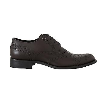 Dolce & Gabbana Brown Leather Wingtip Derby Formal Shoes -- MV20769904