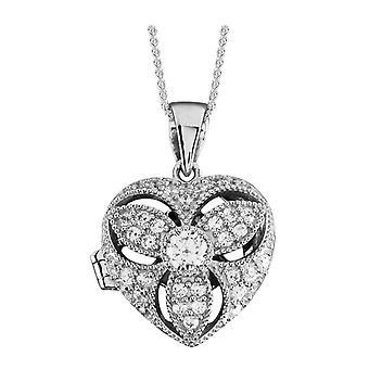 Orton oeste pedra conjunto medalhão coração - prata
