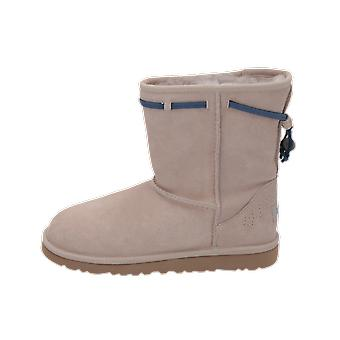 UGG CLASSIC SHORT CARRANZA Kids Boots Beige Lace-Up Boots Winter