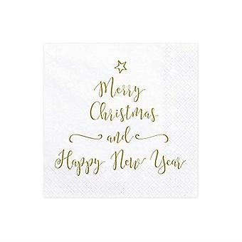Merry Christmas and Happy New Year Napkins - Table Decoration x 20