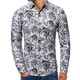 Allthemen Men's Youth Popular Printed Lapel Long-Sleeved Shirt