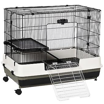 PawHut Small Pet Animal Cage w/ Metal Wire Top Platform Removable Tray 4 Wheels Door Safe Hutch Moving House