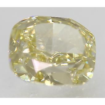 Cert 1.01 Carat Fancy Yellow VS1 Cushion Natural Loose Diamond 6.48x5.66mm 2VG