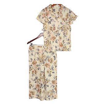Isaac Mizrahi Live! Frauen's Pyjama Set Floral gedruckt Beige A374655