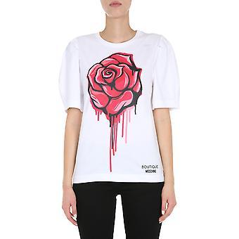 Boutique Moschino 120361401001 Women's White Cotton T-shirt