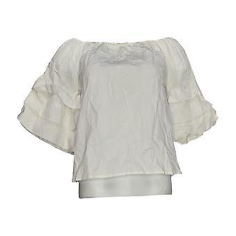 K Jordan Women's Top Off-Shoulder Tiered-Sleeve White