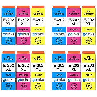 4 3 mustekasettia Epson 202XL C/M/Y -yhteensopivan/muun kuin OEM-laitevalmistajan tilalle Go Inksistä (12 mustetta)