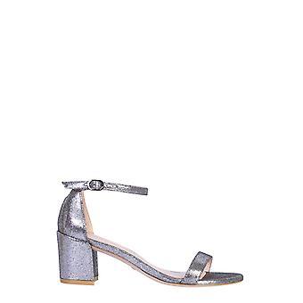 Stuart Weitzman Simplelamevelvetsilver Women's Silver Velvet Sandals