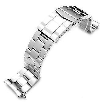 Strapcode klocka armband 22mm rostfritt stål super ostron klocka band för seiko dykare 6309-7040, fast submariner lås