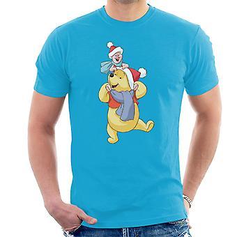 Disney Christmas hatter Ole Brumm og Piglet menn ' s T-skjorte