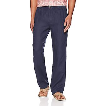 28 Palms Men's Relaxed-Fit Linen Pant with Drawstring, Blue Night, X-Large/30...