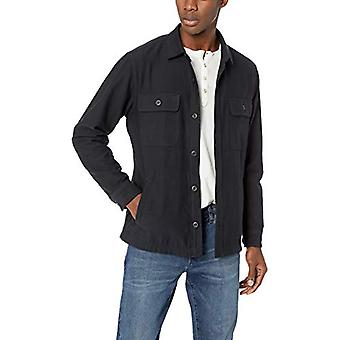 Goodthreads Men's Military Broken Twill Shirt Jacket, -black, Large