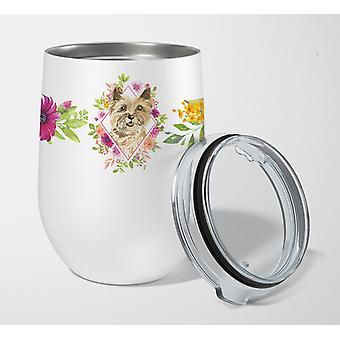 Cairn Terrier Pink Flowers Stainless Steel 12 oz Stemless Wine Glass