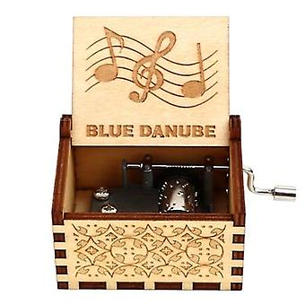 Engraved Hand Cranked 18 Tone Wooden Music Box