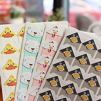 Diy Cute Colored Animals Corner Paper Stickers 96pcs 4 Sheets For Photo Album Scrapbooking