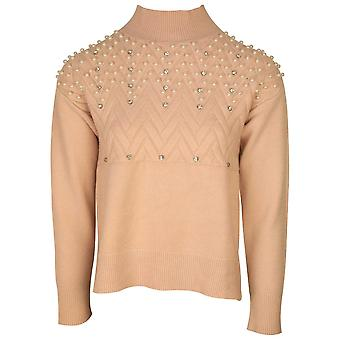Passioni Rose Pink Polo Neck Knitted Jumper With Pearl Detail