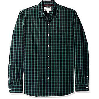 Goodthreads Men's Standard-Fit langærmet Plaid Poplin Shirt, sort / grøn ch ...