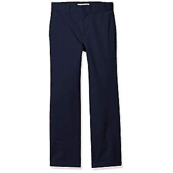 Essentials Boy's Straight Leg Flat Front Uniform Chino Pant, Tummansininen, 7(H)