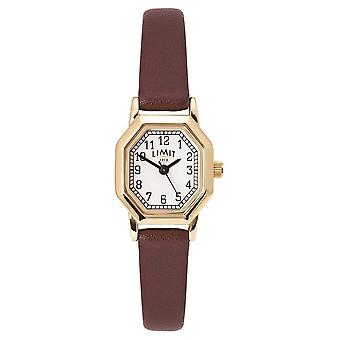 Limit Women's Brown Leather Strap | Gold Plated Case | White Dial 60121 Watch