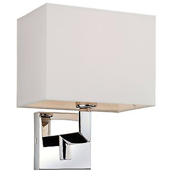 1 Light Single Indoor Wall Light Polished Stainless Steel, Cream Shade, E14