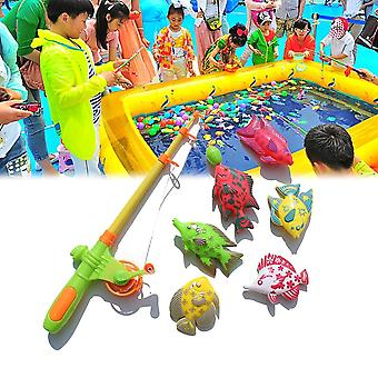 Magnetic Fishing Bath Game Toys Set For Kids - Water Table Bathtub Pool Party With Rod Net Plastic Floating Fish