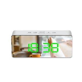 Digital Snooze Led Mirror Alarm Clock Table Wake Up Light Electronic Large Time Temperature Display