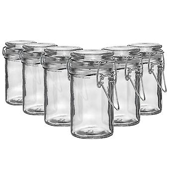 Argon Tableware Glass Spice Jars with Airtight Clip Lid - 70ml Set - Clear Seal - Pack of 6