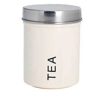 Contemporary Tea Canister - Steel Kitchen Storage Caddy with Rubber Seal - Cream