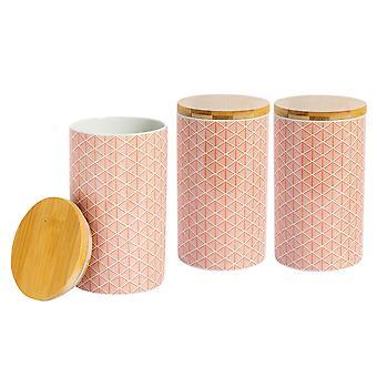 Nicola Frühling 3 Stück geometrische gemusterte Tee Kaffee Zucker Kanister Set - kleine Porzellan Küche Lagerung - Koralle - 10cm