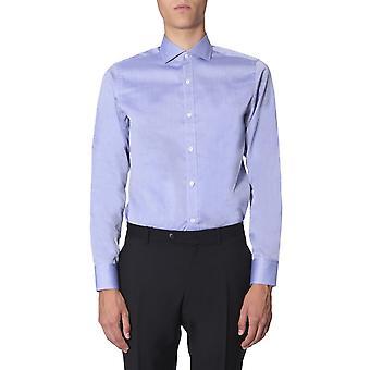 Z Zegna 6055119dfedig Men's Light Blue Cotton Shirt