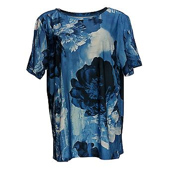 DG2 por Diane Gilman Women's Top Short-Sleeve Printed Tee Blue 655-268