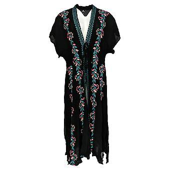 Curations Women's Sweater Embroidered Gauze Kaftan Wrap Black 688-950
