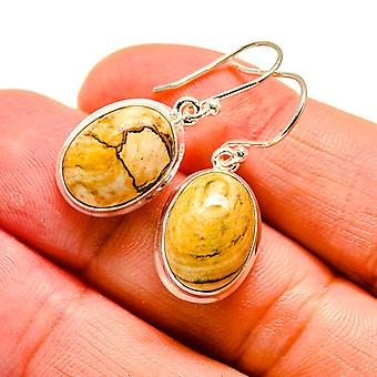 "Picture Jasper Earrings 1 1/4"" (925 Sterling Silver)  - Handmade Boho Vintage Jewelry EARR407991"