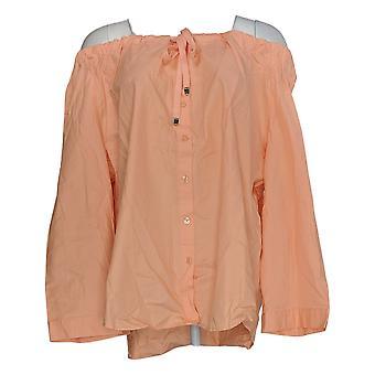 Linea by Louis Dell'Olio Women's Plus Top Peasant Blouse Orange A306539