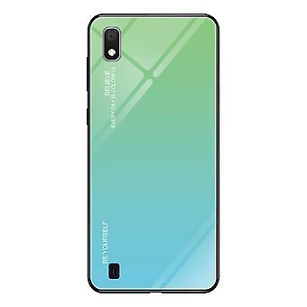 Voor Galaxy A10 Gradient Color Glass Case (Sky Blue)