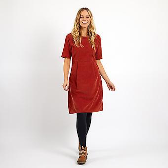 Dominó Cord Vestido Chilli Rojo