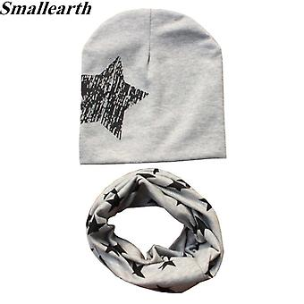 2pcs/set Cotton Baby Hat Scarf Spring Star Print Caps Scarves Warm Beanie
