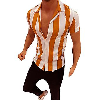 الرجال أزياء عارضة متعددة الألوان مخطط Lapel قميص قصير الأكمام