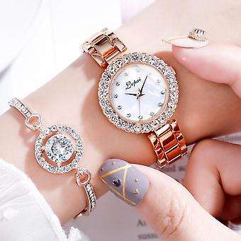 Luxury Bracelet Watches Set, Fashion Geometric Bangle, Quartz Clock, Ladies