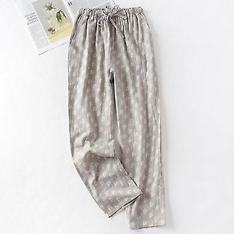 Spring And Summer Couples Cotton Double Gauze Thin Sleep Pants, Casual Printing
