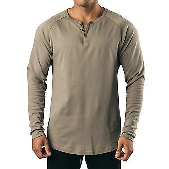 YANGFNA Men's Solid Color T-Shirt à manches longues