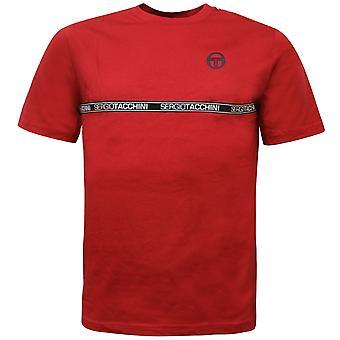 Sergio Tacchini Hombres Camiseta Fosh Gráfico Grabado Casual Rojo Top 38765 607