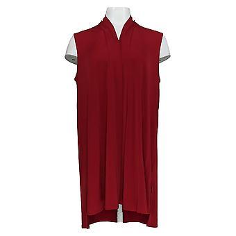 Susan Graver Women's Top Knit Open Front Vest Red A310086