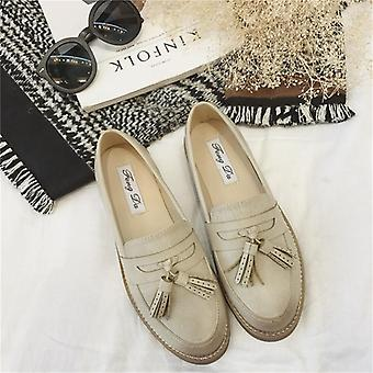 Fringe Leather Flats Preppy Casual College Students Ladies Shoes